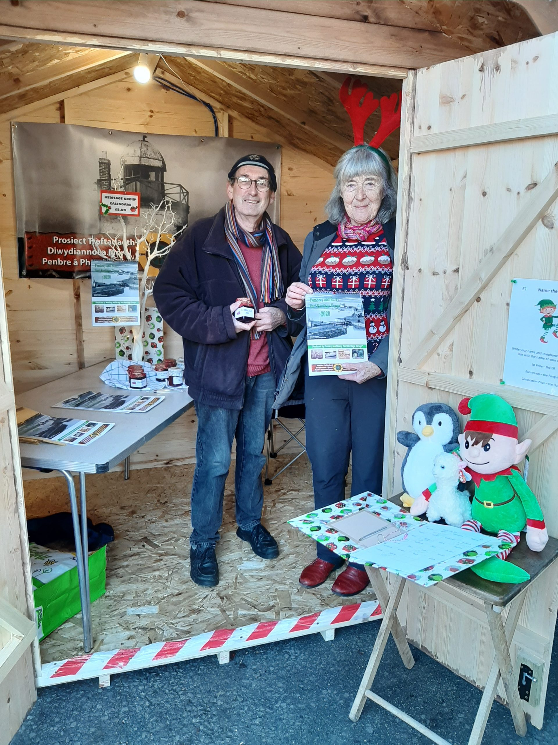 Jon and Fay at the Heritage Stall, Burry Port Christmas Fair 2019