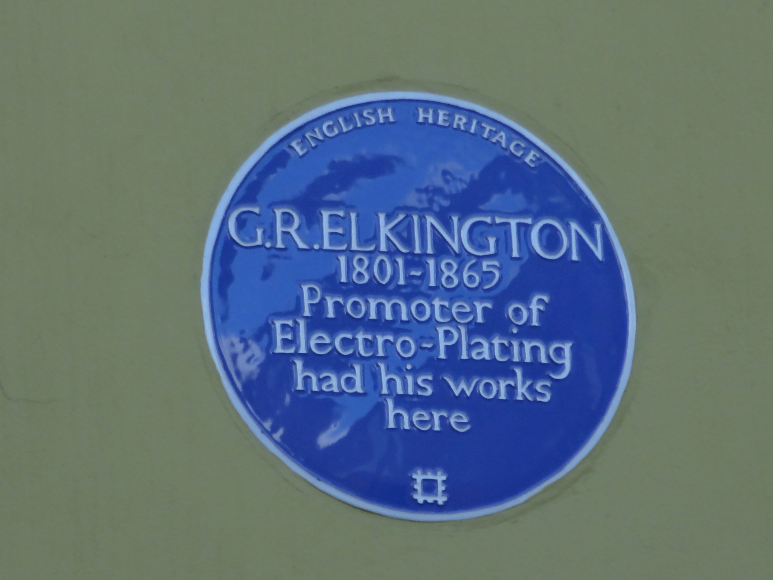 George Elkington Plaque in Newhall Street Photo - Graham Davies